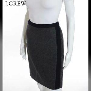 J CREW Beautiful Blk/Gray 2 Tone Wool Pencil Skirt